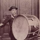 Young man with bass drum